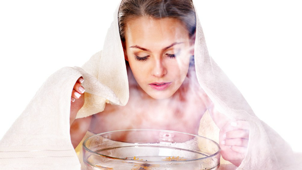 Clean the face with steam